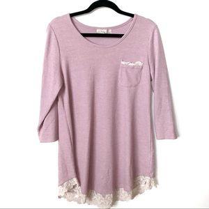 Logo | Lace Hem Long Sleeve Pink Tunic